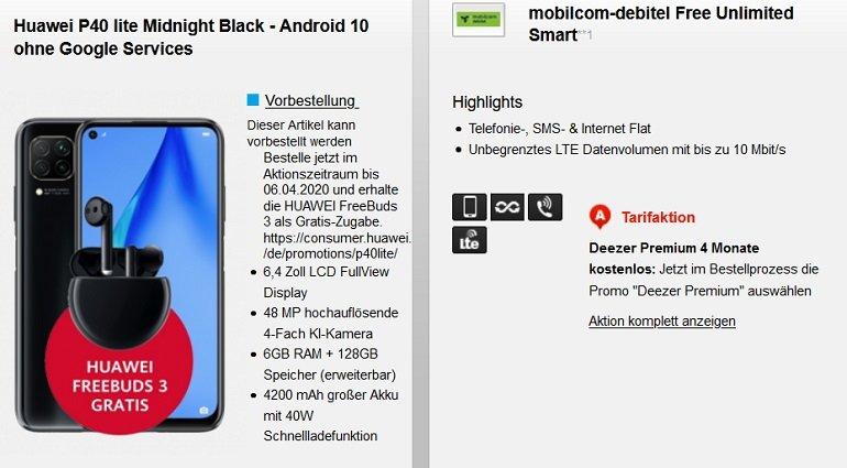 Huawei P40 lite + Freebuds 3 mobilcom-debitel o2 Free Unlimited Tarif