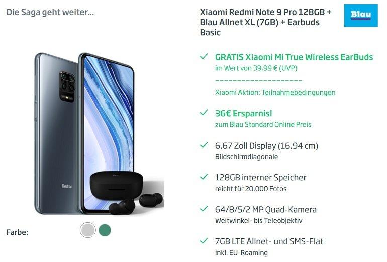 Xiaomi Redmi Note 9 Pro 64GB o2 Blau XL Allnet-Flat mit 7GB LTE