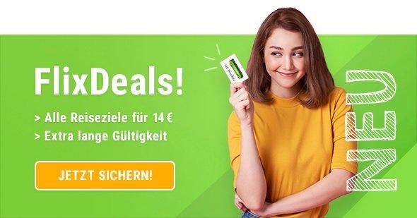 FlixBus / FlixTrain Gutschein für eine Einfache Fahrt (Direktfahrt) für 14€ - egal wohin