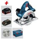 Bosch Akkukreissäge GKS 18 V-LI + 2x 5Ah Akkus, Ladegerät & L-Boxx für 262,99€
