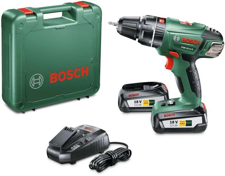 Bosch Akku-Schlagbohrschrauber PSB 18 LI-2 mit 2x 2,5Ah Akkus, Ladestation und Koffer für 79,99€