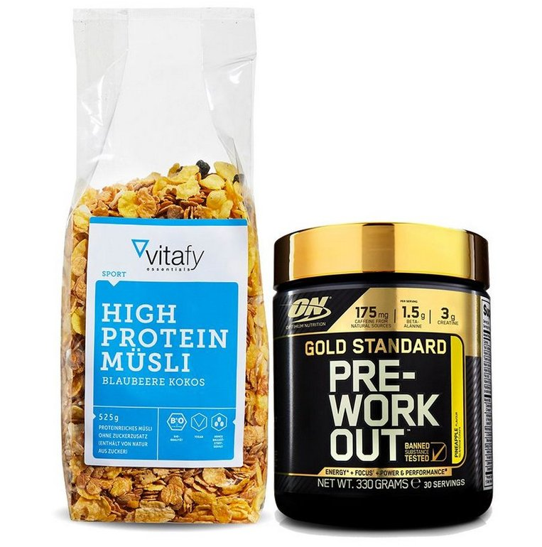 Gold Standard Pre-Work Out - Ananas (330g) + High Protein Müsli (525g) ab 12,99€