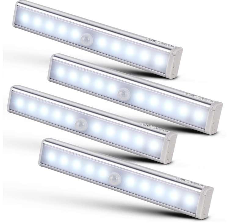 Monzana 4er Set LED Schrankleuchte mit Bewegungsmelder für 22,95€inkl. Versand (statt 27€)
