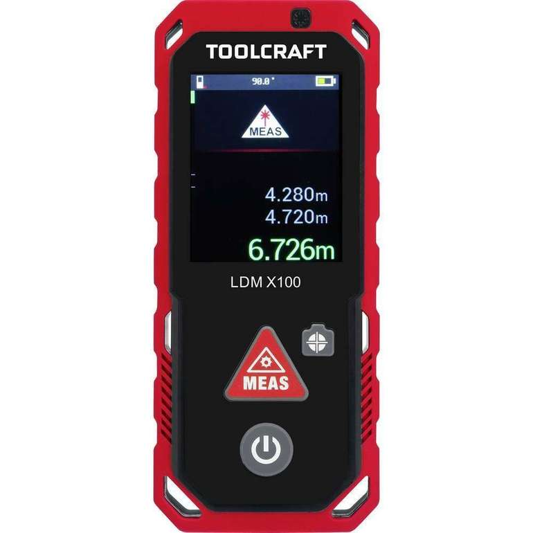 Toolcraft LDM X100 Laser-Entfernungsmesser (Bluetooth, IP65, max. 100m) für 104,95€ (statt 204€)