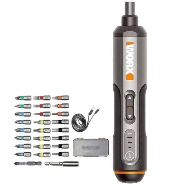Worx WX240 Akkuschrauber (5/2.5nm, 1.5Ah Akku, LED-Licht, USB-C, inkl. 26 Bits) für 25,41€ (statt 40€)