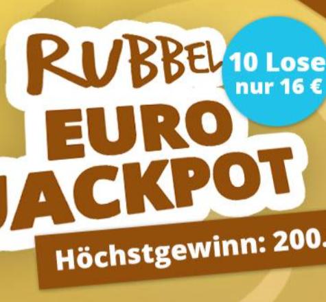 """10 Lose """"Rubbel EuroJackpot"""" nur 16€ (statt 20€) - für Neu- & Bestandskunden!"""