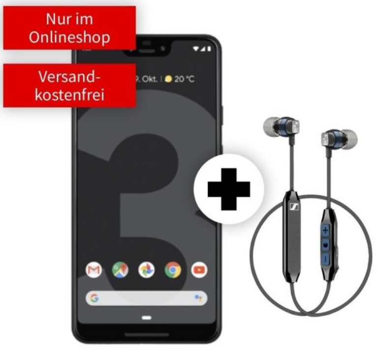 Google Pixel 3 XL + Sennheiser CX6 + Vodafone Allnet-Flat (6GB LTE) für 21,99€