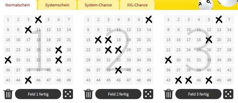 Lottohelden 6 Felder 6aus49 2