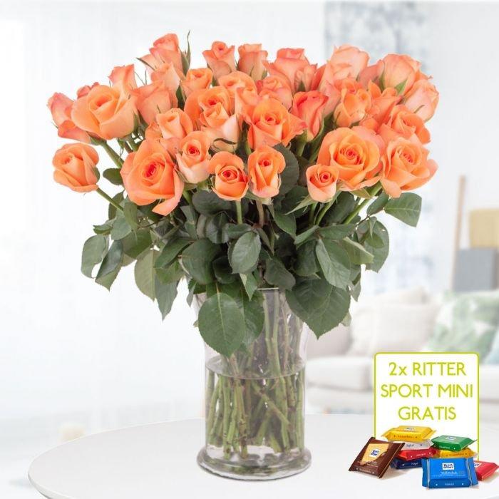 40 orange Rosen (40cm) + 2 gratis Ritter Sport Mini-Schokis + Grußkarte für 24,90€