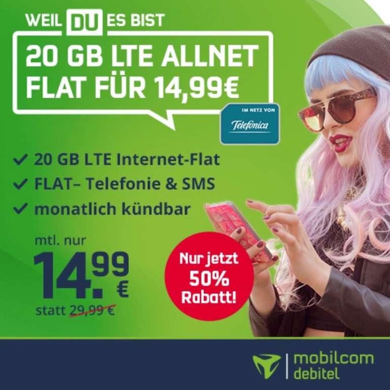 o2 Allnet-Flat mit 20GB LTE 225 MBit inkl. VoLTE & WLAN Call für 14,99€ mtl. (statt 30€)