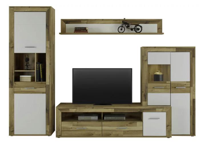Modern Living Wohnwand in Weiß/Eichefarben für 489,30€inkl. Versand (statt 740€)