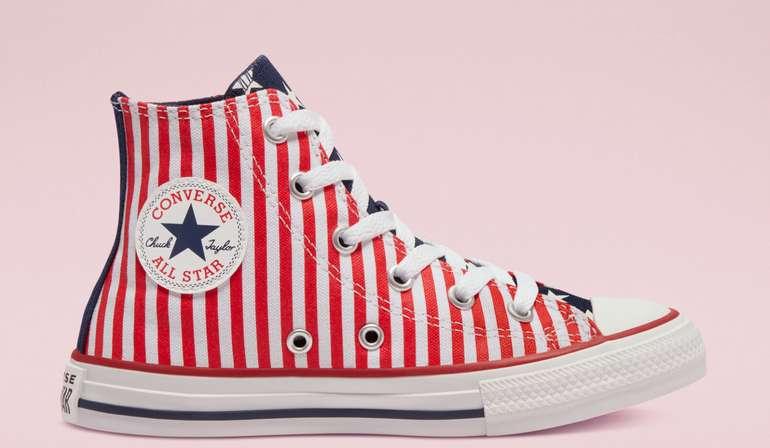 Converse Kids Sale mit 15% Rabatt + VSKfrei ab 35€ - z.B. Stars & Stripes Chuck Taylor All Star-High Top für 28,74€