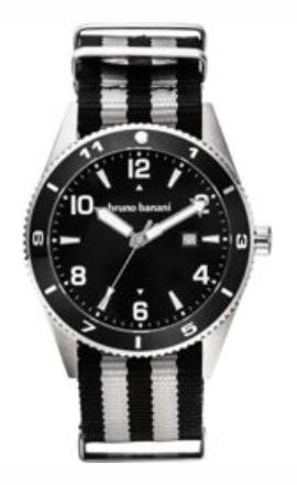 Bruno Banani Armbanduhr 'BB003' in grau / schwarz für 35€ (statt 42€)