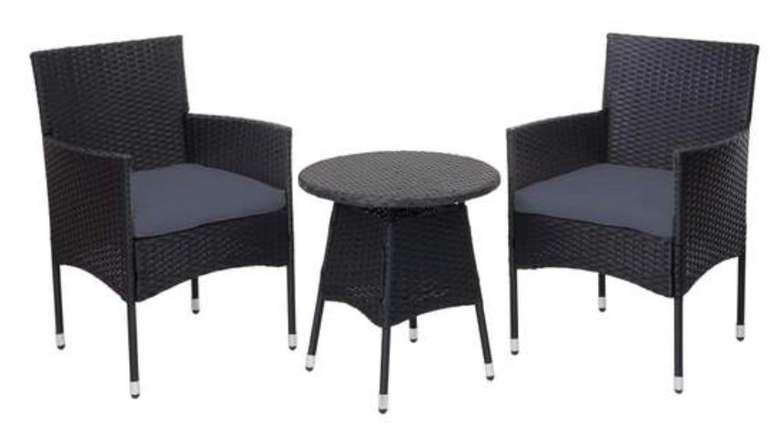 Mendler HWC-G27Poly-Rattan Sitzgarnitur Balkonset (2x Sessel + Tisch + Kissen) für 122,99€ (statt 171€)