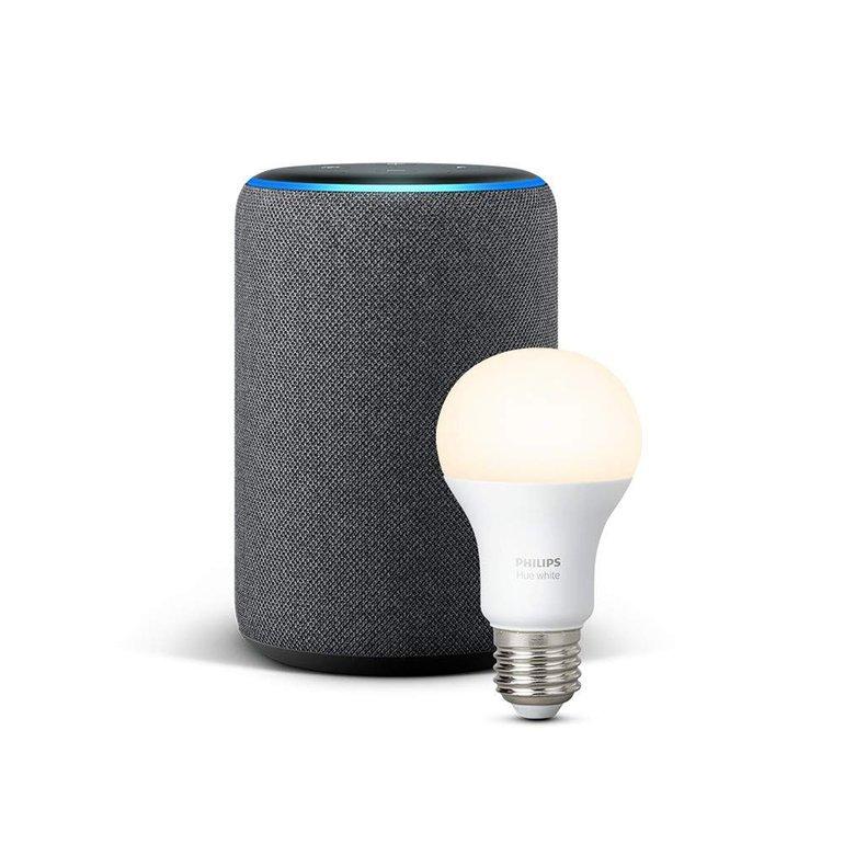 Amazon Echo Plus (2nd Gen.) sprachgesteuerter Lautsprecher + Philips Hue Lampe ab 136,92€