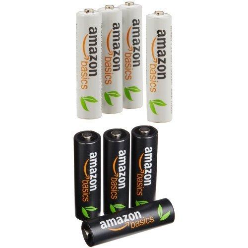 AmazonBasics Ni-MH AA-Akkus (AA - 4 Stück und AAA - 4 Stück) je 6,66€