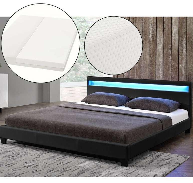 ArtLife Doppelbett (140x200cm) mit Matratze und LED-Beleuchtung für 179,95€ inkl. Versand