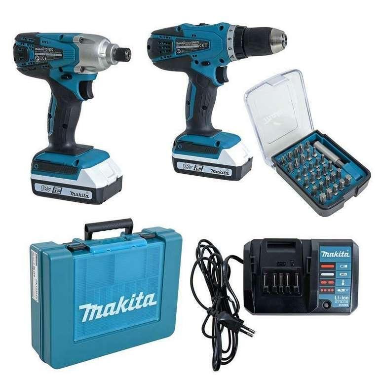 Makita DK18354X1 Set - Akkuschrauber (DF457DZ) + Schlagschrauber (TD127DZ) + 2x Akkus & Bit-Set für 184,95€ inkl. Versand (statt 270€)