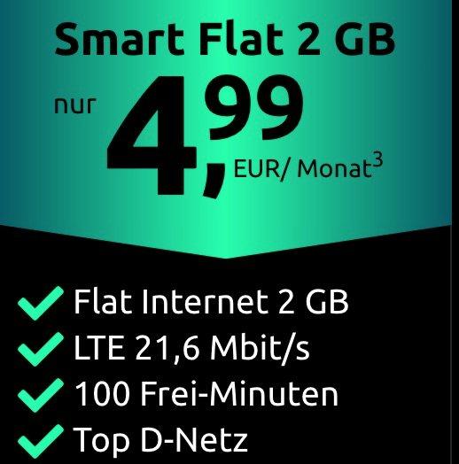 Crash Tarif: Telekom Smart Flat mit 2GB LTE und 100 Frei-Minuten für 4,99€ monatlich (SIM-Only)