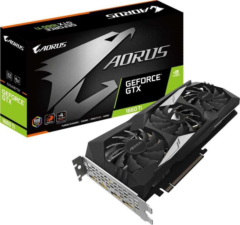 Gigabyte Aorus Grafikkarte Nvidia GeForce GTX1660 Ti 6GB GDDR6 für 189,38€ inkl. Versand