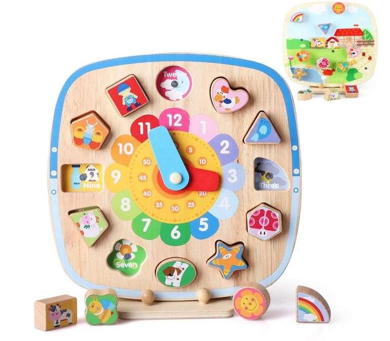 BeebeeRun Holzuhr 5 in 1 Spielzeug für 14,19€ inkl. Prime Versand (statt 17€)
