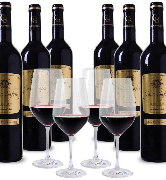 8 Flaschen Casa Safra Rotwein + 4 Schott Zwiesel Gläser für 49,99€ inkl. Versand