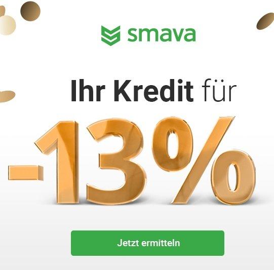 Kredit über 1.000€ mit -13% Jahreszins zum 3. Geburtstag von Smava