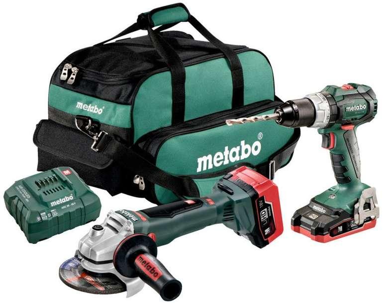 Metabo Akku-Combo Set 18V (Bohrschrauber + Winkelschleifer + Tasche & Zubehör) für 259,95€