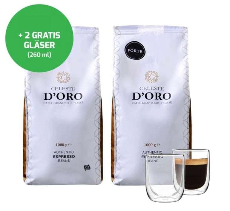 Kaffeebohnen Probierpaket: 2kg Celeste d'Oro (Crema + Forte) + 2 Doppelwand-Gäser für 30,94€