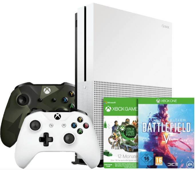 Xbox One S 1TB + ArmedForces 2 Controller, Gamepass + BF V & 1 + Fallout 76 231€