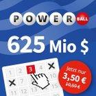 3 Felder PowerBall (625 Mio. $) für 3,50€ statt 10,50€ (Lottohelden, Neukunden)