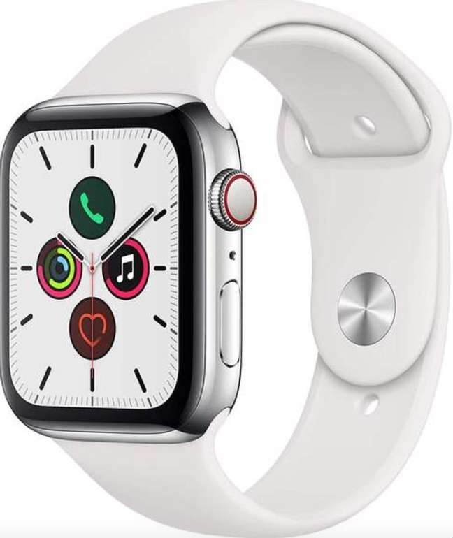 Apple Watch Series 5 Smartwatch (GPS, 44mm, Edelstahl, Sportarmband) für 526,45€ inkl. Versand (statt 649€)