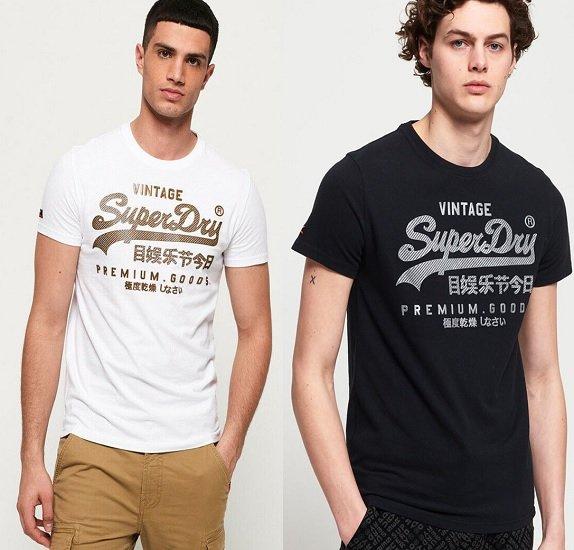 Superdry Vintage Logo Authentic T-Shirts (Schwarz / Weiß) für je nur 15,75€ inkl. VSK