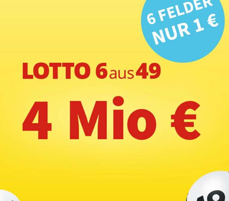 Lottohelden: 6 Felder 6aus49 für 1€ (statt 6€) - aktuell sind 4 Millionen € im Jackpot