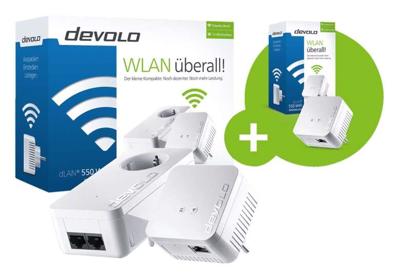 Devolo dLAN 550 + WiFi Starter Kit plus dLAN 550 WiFi Ergänzungsadapter für 86,76€ inkl. Versand (statt 130€)