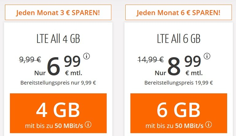 Sim.de o2 Allnet-Flat mit 6GB LTE Datenvolumen