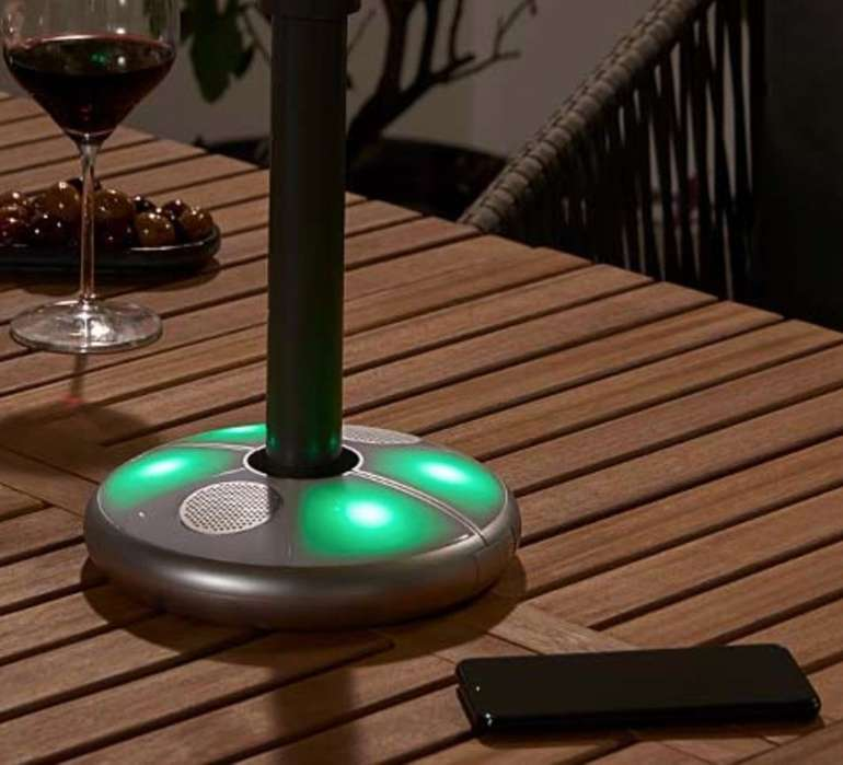 Großer Tchibo Garten-Sale mit bis -50% Rabatt, z.B. LED-Schirmleuchte mit Bluetooth-Lautsprecher für 23,39€