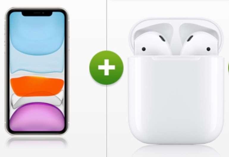 Apple iPhone 11 (128GB) + AirPods (2. Generation) für 75€ + klarmobil Allnet Flat mit 12GB LTE für 44,99€ mtl.