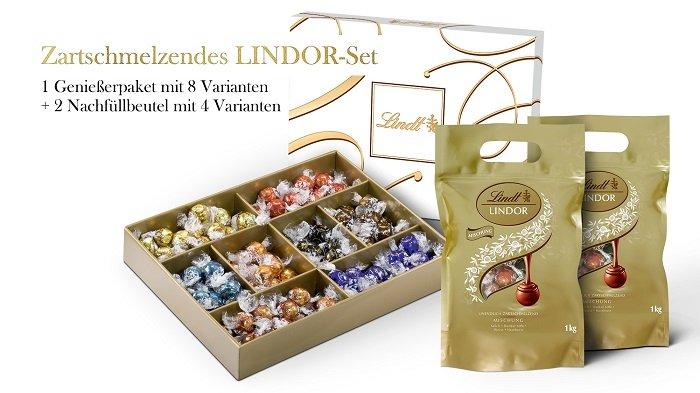 Lindt Genießerpaket mit 8 Varianten + 2 Nachfüllbeutel mit 4 Varianten zu 63,95€