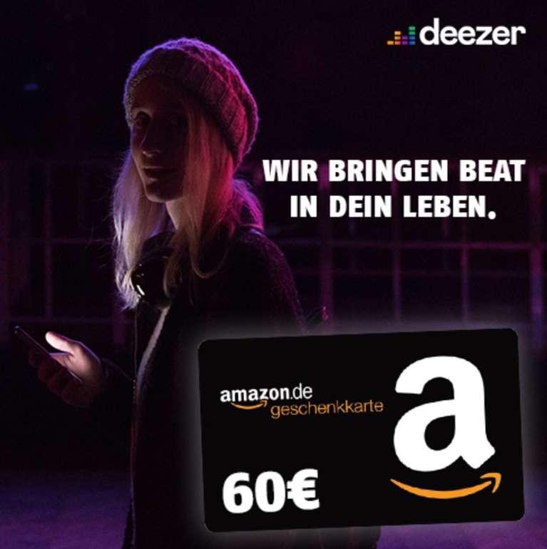 24 Monate Deezer Premium für effektiv 4,99€ mtl. durch 60€ Amazon Gutschein (4,99€ mtl. im 1. Jahr, 9,99€ mtl. im 2. Jahr)